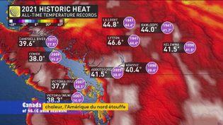 Carte météo montrant l'ampleur d ela canicule dans le Nord-Ouest américain (FRANCEINFO)