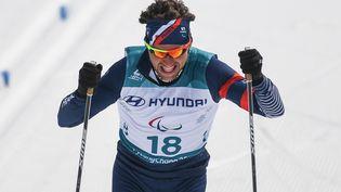 Le skieur Benjamin Daviet, le 12 mars 2018 à Pyeongchang (Corée du Sud). (GRIGORY SYSOEV / SPUTNIK / AFP)