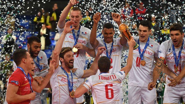 L'équipe de France de volley célèbre sa victoire lors de la Ligue mondiale 2017 (NELSON ALMEIDA / AFP)