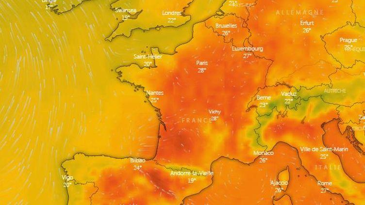 Grâce à la carte interactive mise au point par le site Windy.com, il est possible d'observer l'évolution des températures et les prévisions pour les jours à venir. (FRANCEINFO)