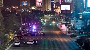 La police intervient sur la scène d'un accident ayant fait au moins un mort et de nombreux blessés, le 20 décembre 2015, à Las Vegas (Nevada). (DAVID BECKER / REUTERS)