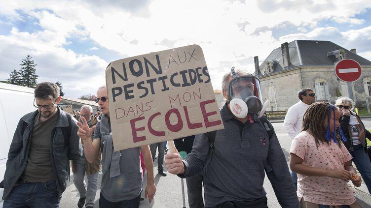 Une manifestation contre l'utilisation des pesticides, àListrac-medoc, le 8 octobre 2017. (MAXPPP)