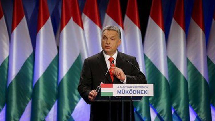 Le Premier ministre hongrois, Viktor Orban, pendant un discours à Budapest le 28 février 2016. ( REUTERS - Laszlo Balogh)