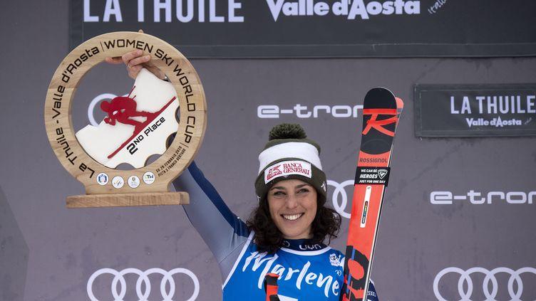 Federica Brignone, vainqueur de la Coupe du monde de ski alpin 2019. (MARCO BERTORELLO / AFP)