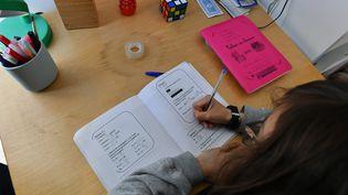 Une enfant fait ses devoirs chez elle, à Lille (Nord), le 5 avril 2021. (MAXPPP)