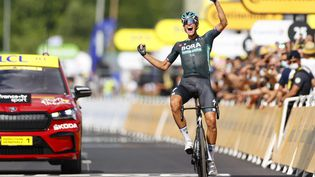 Nils Politt (Bora-Hansgrohe)a remporté la 12e étape du Tour de France 2021, jeudi 8 juillet, sa plus belle victoire en carrière. (THOMAS SAMSON / AFP)