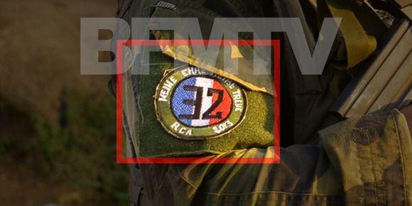 """La macaron porte la devise SS ainsi que la mention """"RCA 2013"""", comme le montre cette photo postée par BFM TV. (ARMEE / BFM TV)"""