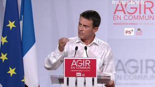 Le Premier ministre Manuel Valls lors de son discours de clôture à La Rochelle (Charente-Maritime), le 30 août 2015. ( FRANCE TÉLÉVISIONS )