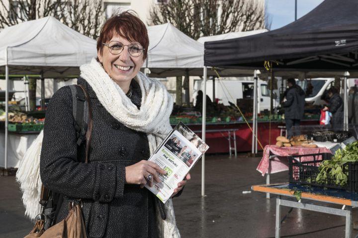 La nouvelle maire écologiste de Besançon (Doubs), alors en campagne pour les élections municipales, le 19 février 2020. (SEBASTIEN BOZON / AFP)