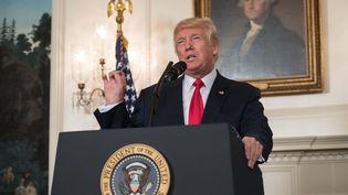 Le président américain Donald Trump, le 14 août 2017 à Washington (Etats-Unis). (NICHOLAS KAMM / AFP)