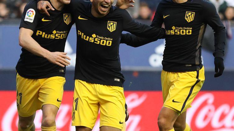 La joie des Madrilènes Gameiro, Correa et Griezmann (CESAR MANSO / AFP)