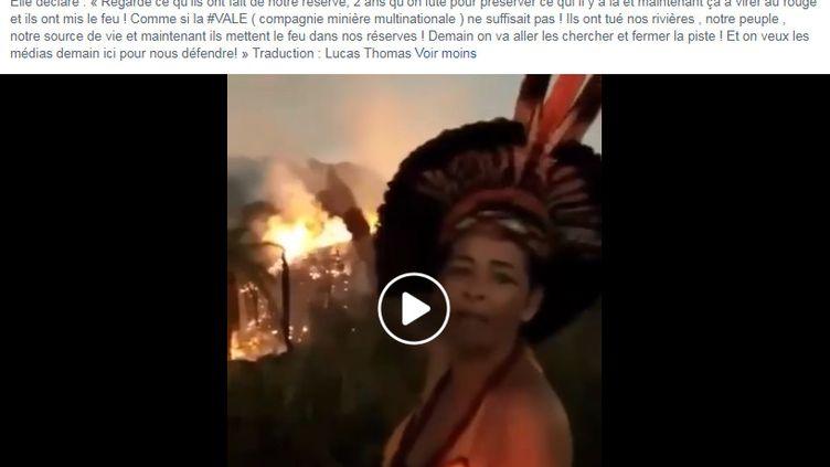 """Capture d'écran d'une vidéo postée par le compte Facebook """"Météo des Ouragans"""". Elle dit illustrer les incendies récents en Amazonie. (CAPTURE D'ÉCRAN)"""