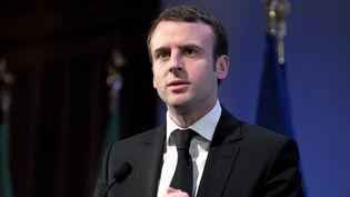 EmmanuelMacron lors du sommet africain de Paris, le 6 février 2015. (ERIC PIERMONT / AFP)