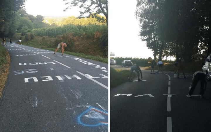 Des supporters du coureur Matthieu Ladagnous préparent le passage du peloton, à la veille de la 11e étape du Tour de France 2015, dans les Pyrénées-Atlantiques. (K. BERGOULI / DR)