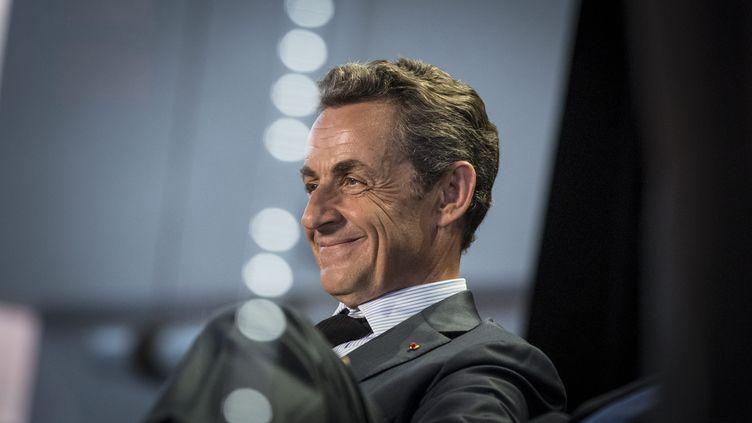 Le président de l'UMP, Nicolas Sarkozy, lors d'un meeting aux Pavillons-sous-Bois (Seine-Saint-Denis), le 11 mai 2015. (MAXPPP)