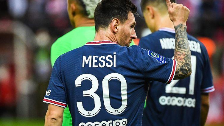 Lionel Messi a disputé son premier match sous les couleurs du Paris Saint-Germain, dimanche 29 août 2021, au stadeAuguste-Delaune. (MATTHIEU MIRVILLE / AFP)