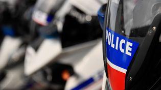 Le logo de la police à Marseille, le 12 avril 2019. (CHRISTOPHE SIMON / AFP)
