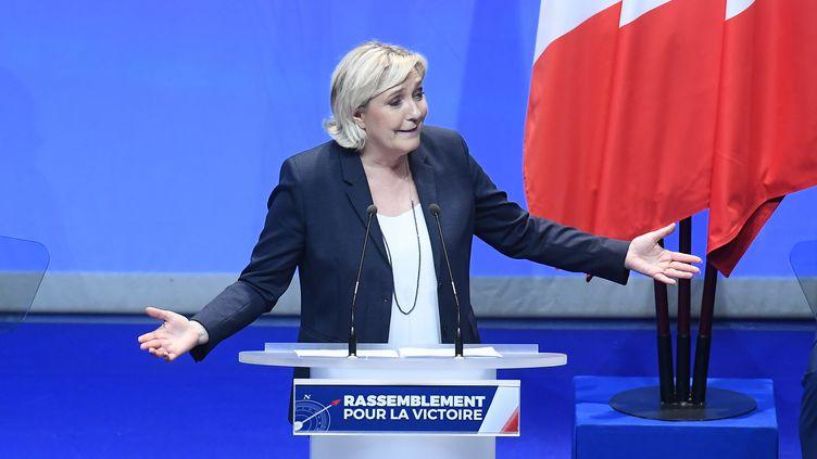 La présidente du Front national, Marine Le Pen, le 11 mars 2018 à Lille (Nord). (FRANCOIS PAULETTO / CROWDSPARK / AFP)