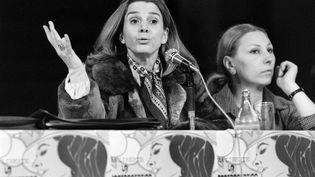 L'avocateGisèle Halimilors d'une conférence de pressedu mouvement Choisir,à Toulouse, le 17 mars 1978. (JEAN-CLAUDE DELMAS / AFP)