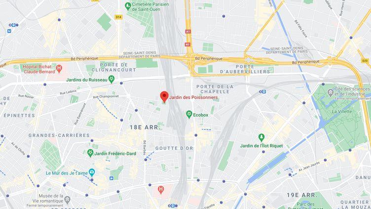 Un homme qui avait menacé un policier avec un couteau a été abattu à l'anglede la rue Boinod et de la rue des Poissonniers, à Paris, le 14 mars 2021. (GOOGLE MAPS)