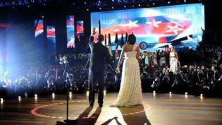 Barack Obama et Michelle Obama avec la chanteuse Beyoncé, le 20 janvier 2009. (JOANN DOST / AFP)