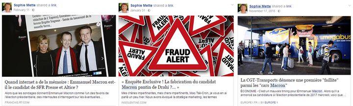 Captures d'écran du compte Facebook de Sophie Mette, candidate En marche ! dans la 9e circonscription de Gironde. (FACEBOOK)