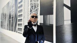 Le créateur Karl Lagerfeld lors d'une exposition de ses photographiesà laLangen Foundation, près deNeuss(Allemagne) le 17 novembre 2007. (ACHIM SCHEIDEMANN / DPA / AFP)