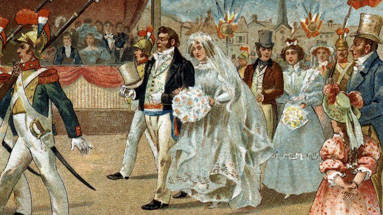 """La fête de la Rosière est une coutume célébrée depuis le Ve siècle, durant laquelle une jeune femme """"vertueuse"""" reçoit une couronne de fleur en l'honneur de sa bonne réputation. (LEEMAGE / AFP)"""