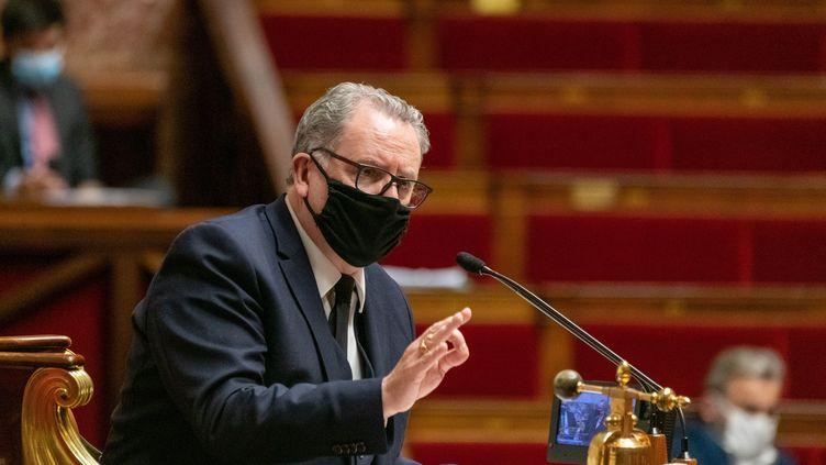 Le président de l'Assemblée nationale, Richard Ferrand, préside une séance de questions au gouvernement, le 8 décembre 2020. (JACQUES WITT / SIPA)