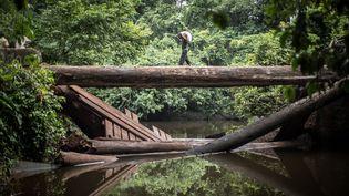 Un homme transporte un sac de farine sur un pont détruit sur la route entre Zongo et Libenge, en République démocratique du Congo. (FEDERICO SCOPPA / AFP)