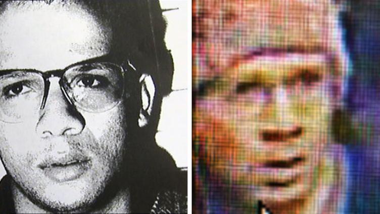Abdelhakim Dekhar, en 1994 (à gauche), et en 2013 (à droite). Entre-temps, l'homme soupçonné d'être le tireur de Paris a passé treize années en Angleterre. (17 JUIN MEDIA / AFP)