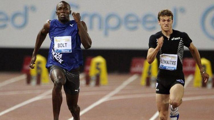 Usain Bolt à la lutte avec Christophe Lemaitre