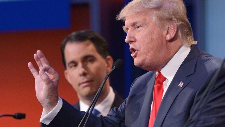Donald Trump pendant le premier débat de la primaire républicaine, à Cleveland (Ohio, Midwest), jeudi 6 août 2015. (MANDEL NGAN / AFP)