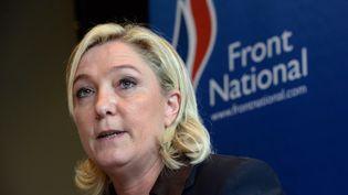 La présidente du Front national, Marine Le Pen, le 26 octobre 2013 à Fougères (Ille-et-Vilaine). (THOMAS BREGARDIS / AFP)