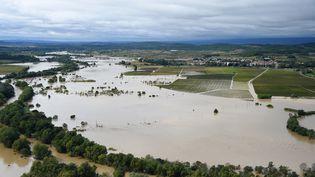 L'Aude au niveau de la commune de Puichéric, le 15 octobre 2018. (SYLVAIN THOMAS / AFP)