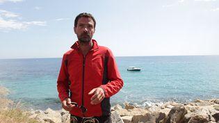 Jerome Kerviel entre Vintimille (Italie° et Menton en France, le17 mai 2014a (COLLET GUILLAUME / SIPA)