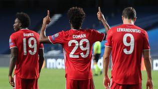 Le Français Kinglsey Coman qui a offert la victoire au Bayern Munich, célébrant son but, en finale de la Ligue des Champions, le 23 août 2020 à Lisbonne. (MIGUEL A. LOPES / AFP)