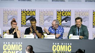 "Les acteurs de la série ""Game Of Thrones"" Maisie Williams, Jacob Anderson, Liam Cunningham, and Nikolaj Coster-Waldau au Comic-Con de San Diego, 19 juillet 2019 (KEVIN WINTER / GETTY IMAGES NORTH AMERICA)"