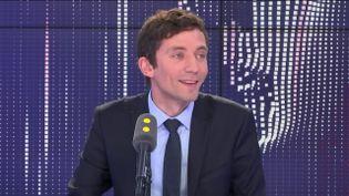 Julien Sanchez, porte-parole du Rassemblement National, le 22 mai 2019. (RADIO FRANCE / FRANCEINFO)