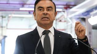 Carlos Ghosn fait un discours à Maubeuge (Nord), le 8 novembre 2018. (LUDOVIC MARIN / AFP)