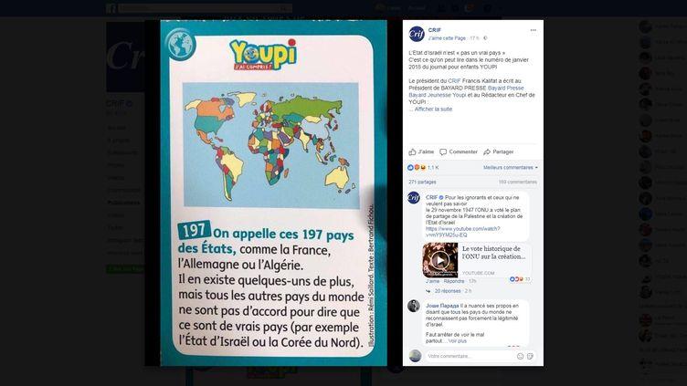 """Un message du Conseil représentatif des institutions juives de France, mis en ligne le 24 décembre 2017 sur Facebook, et dénonçantuntexte publié par le magazine pour enfants """"Youpi"""". (CRIF / FACEBOOK)"""