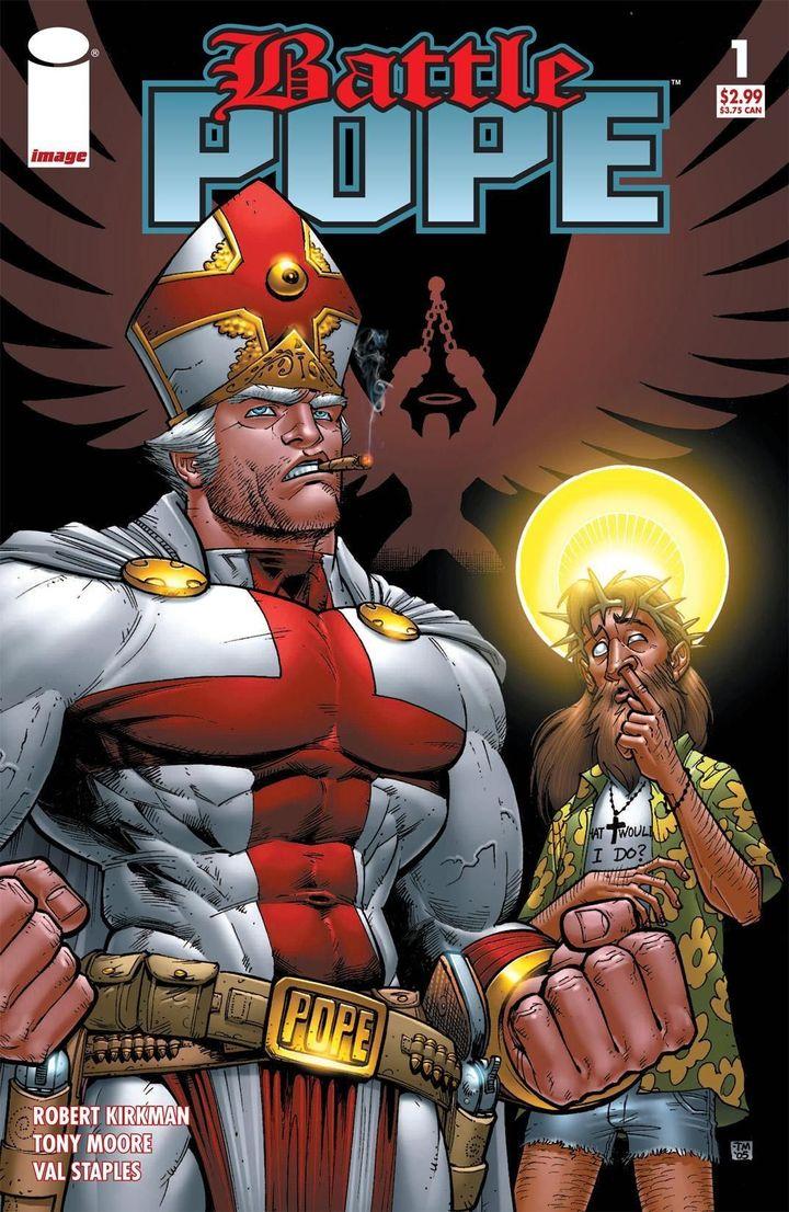 """La couverture du premier tome de """"Battle Pope"""", initialement paru en 2000. (SKYBOUND / IMAGE COMICS)"""