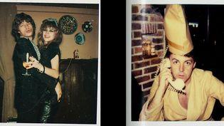 """Montage avec une photo de Mick Jagger et Jo Wood extraite de son livre de souvenirs """"The Rolling Stones inédits, 30 ans d'archives"""" et une photo de Paul McCartney par son épouse Linda extraite de son livre de photos """"The Polaroid Diaries"""". (JO WOOD 2019, LINDA McCARTNEY)"""