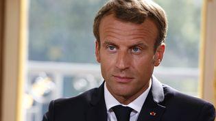 Le président Emmanuel Macron à l'Elysée, le 5 septembre 2018. (THIBAULT CAMUS / AFP)