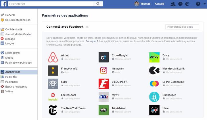 Voici la liste des applications connectées avec mon compte Facebook. (FACEBOOK.COM)