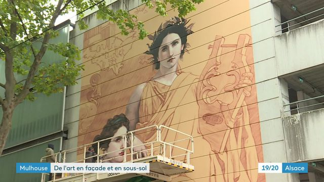 Mulhouse : Andrea Ravo Mattoni réalise une version street-art d'un tableau de William Bouguereau