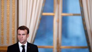 Emmanuel Macron à l'Élysée, le 17 décembre 2018. (BENOIT TESSIER / POOL)