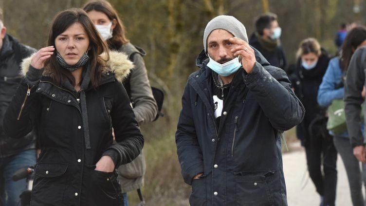 Le mari de Delphine Jubillar lors d'une battue à Cagnac-les-Mines (Tarn) pour la retrouver, le 23 décembre 2020. (MAXPPP)