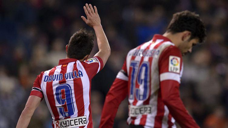 David Villa et Diego Costa, les deux buteurs de l'Atlético Madrid.  (DANI POZO / AFP)