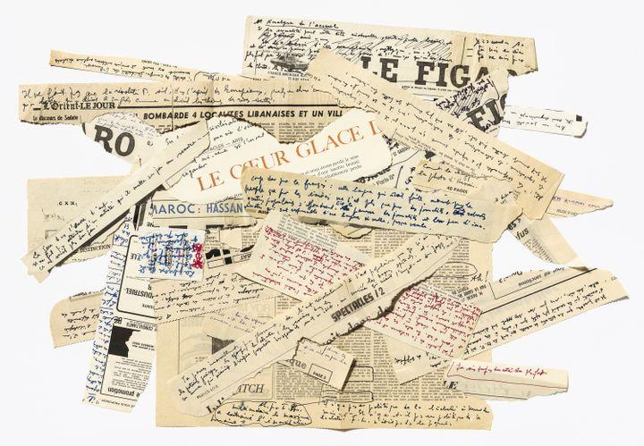 Jean Genet. Notes manuscrites sur divers supports, [années 1970-1980]. Archives Jean Genet / IMEC (© MICHAEL QUEMENER)